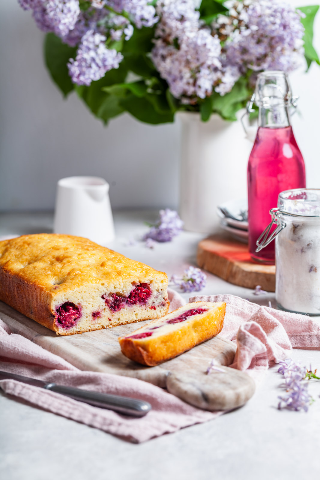 Lilac Lemon Blackberry Pound Cake With a Lilac Glaze