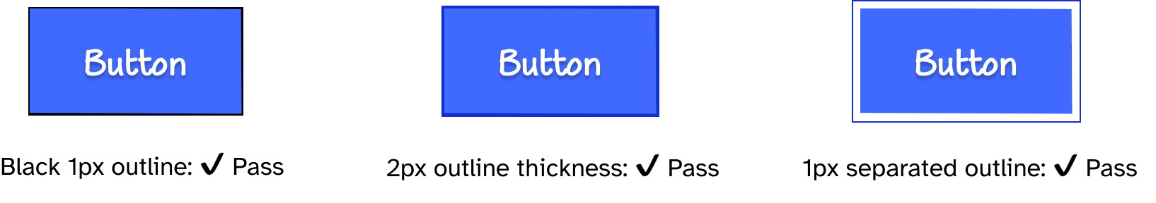 On the left is the blue button with a black 1px solid outline, and text that says 'Pass' underneath it. In the middle, is the blue button with a 2px thick dark blue outline, and text that says 'Pass'. On the right is the blue button with a 1px dark blue outline separated from the button's edges, and text that says 'Pass'.