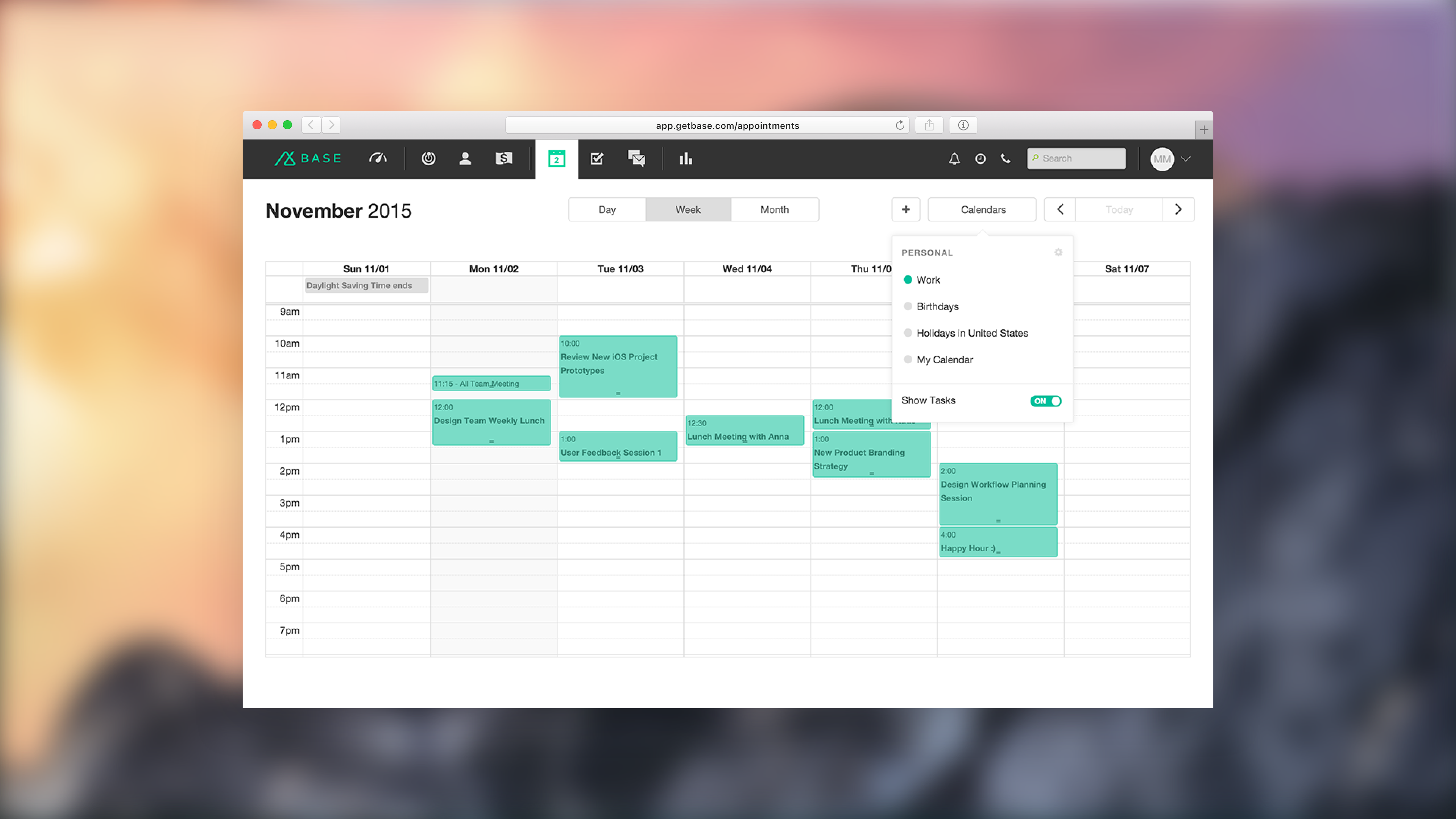 Base CRM - Appointments - Week View