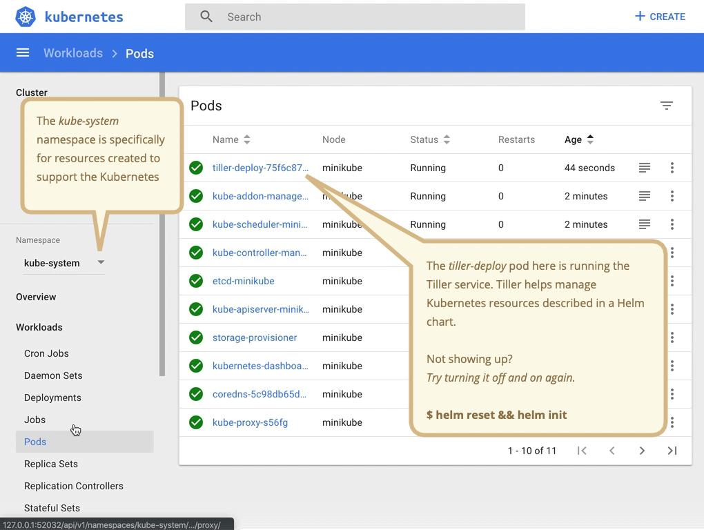 """Minikube dashboard highlighting the """"kube-system"""" namespace"""