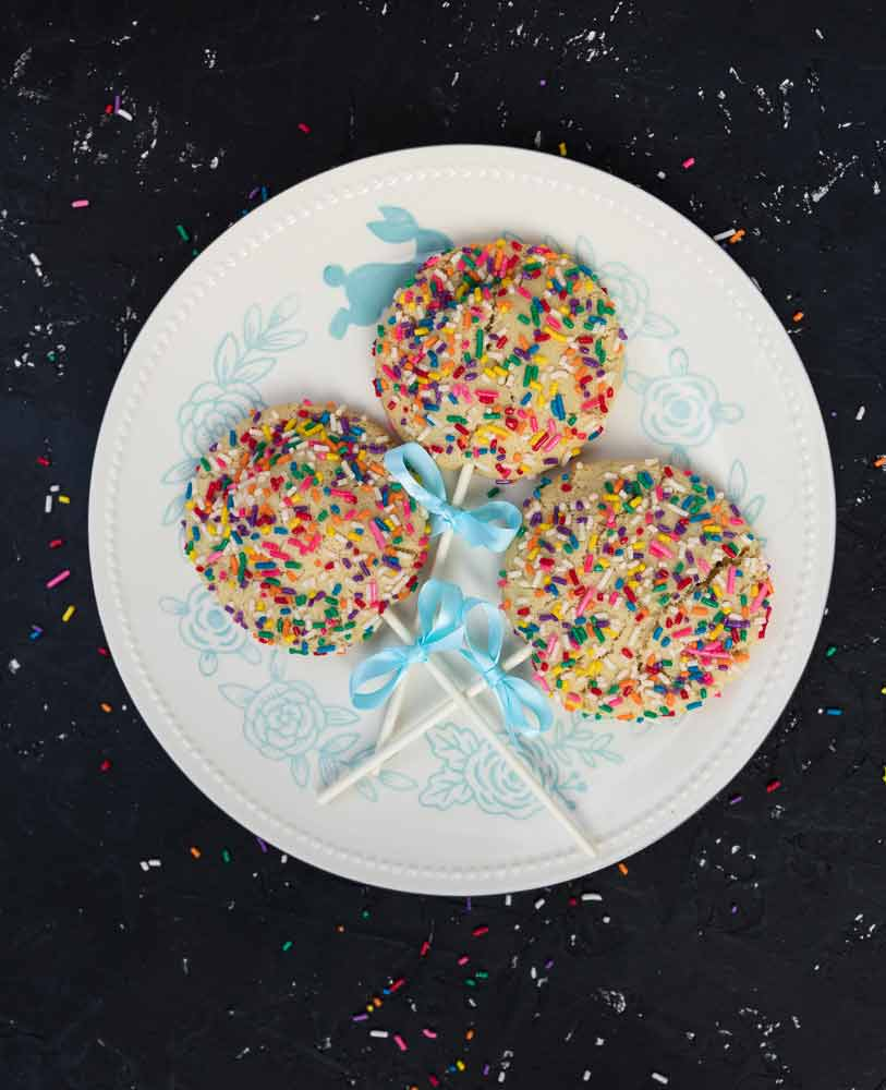 vegan cookie pops with rainbow sprinkles