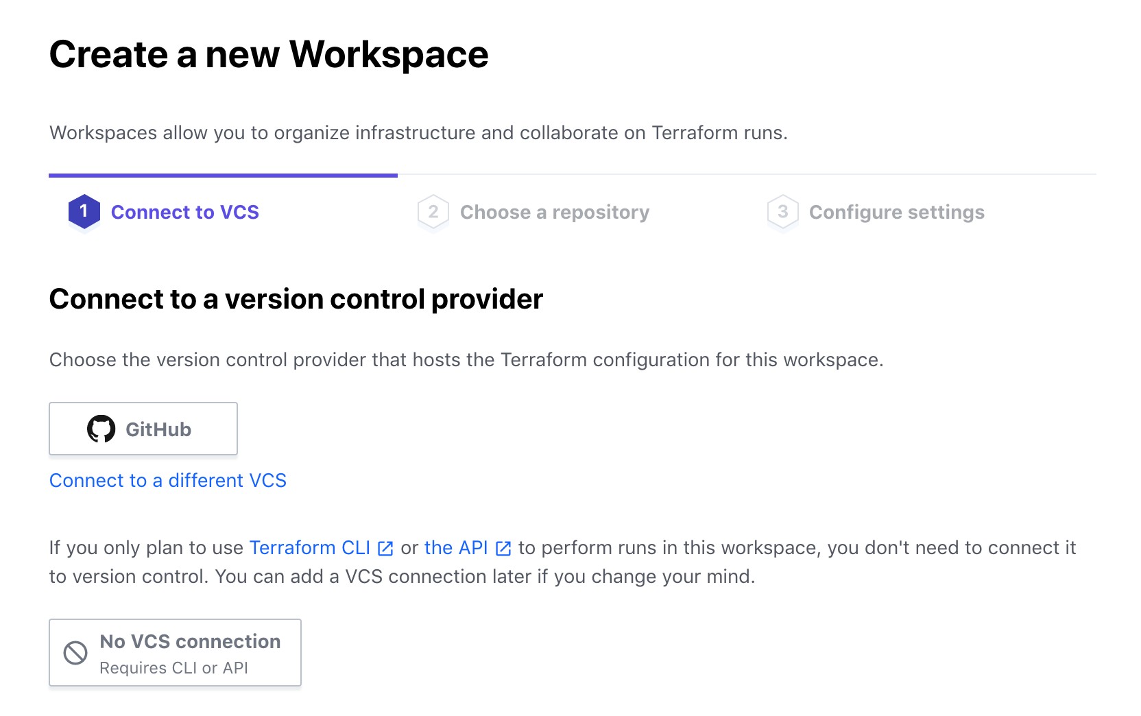 Create workspace using Terraform Cloud