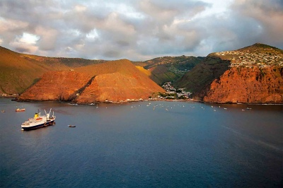 RMS St Helena at anchor of Jamestown St Helena