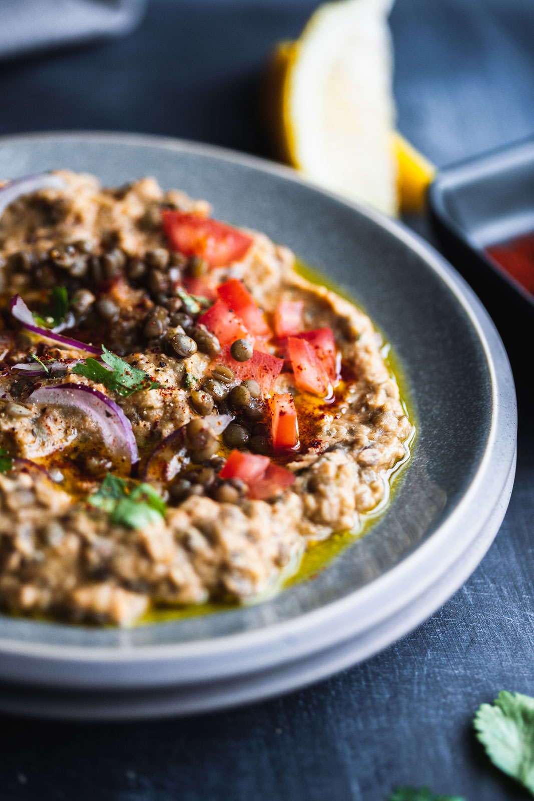 Crushed Puy Lentils With Tahini And Eggplant