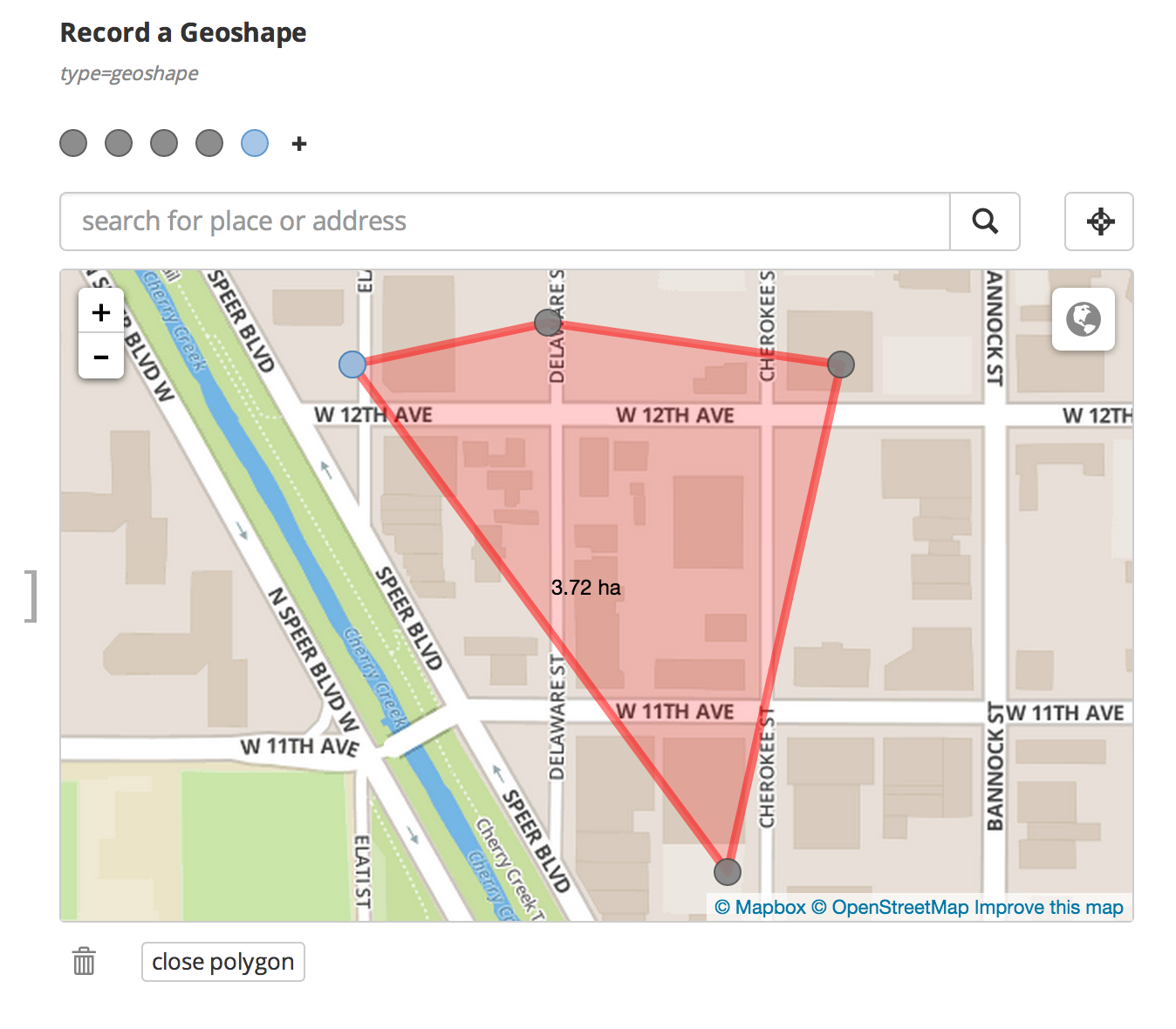 Screenshot Geoshape Widget with hidden inputs