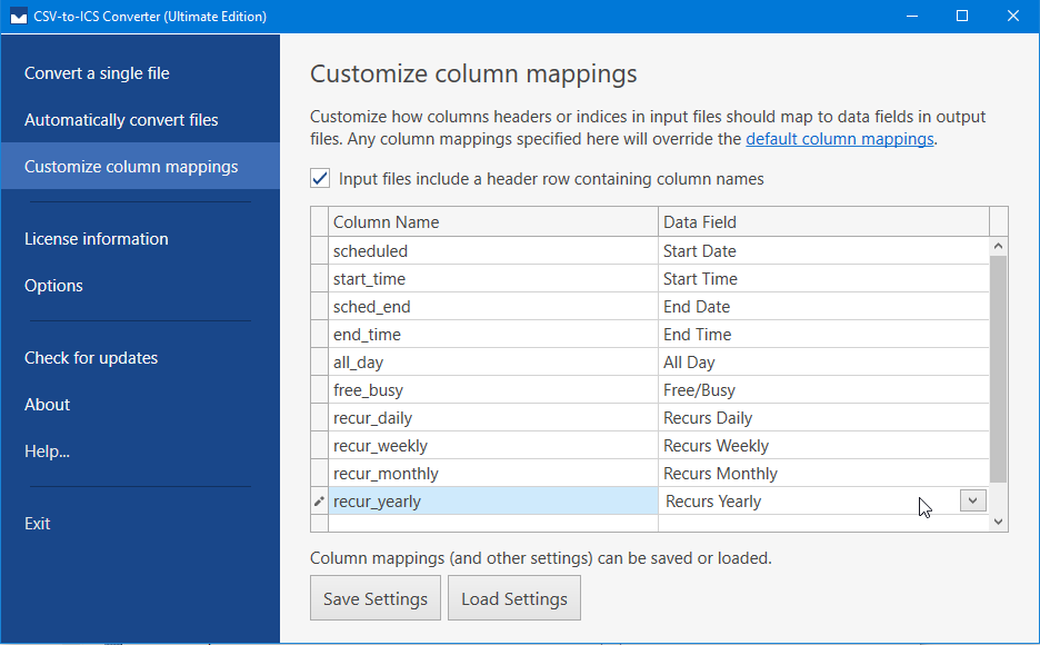 Column headers or indices can be mapped to data fields in output ICS files.