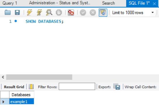 MySQL Workbench Query Tab