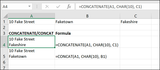 A screen grab from Excel, showing how to handle line breaks with the CONCATENATE function