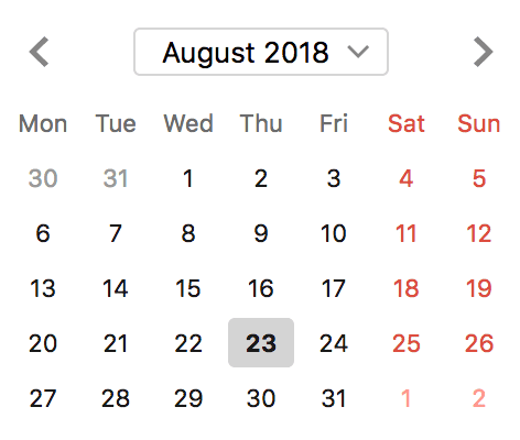 Typical calendar view
