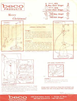 Beco Products Boy Choir Singer #973, Girl Choir Singer #974, Boy Angel #962, Girl Angel #963 Instruction Manual (1963-06).pdf preview