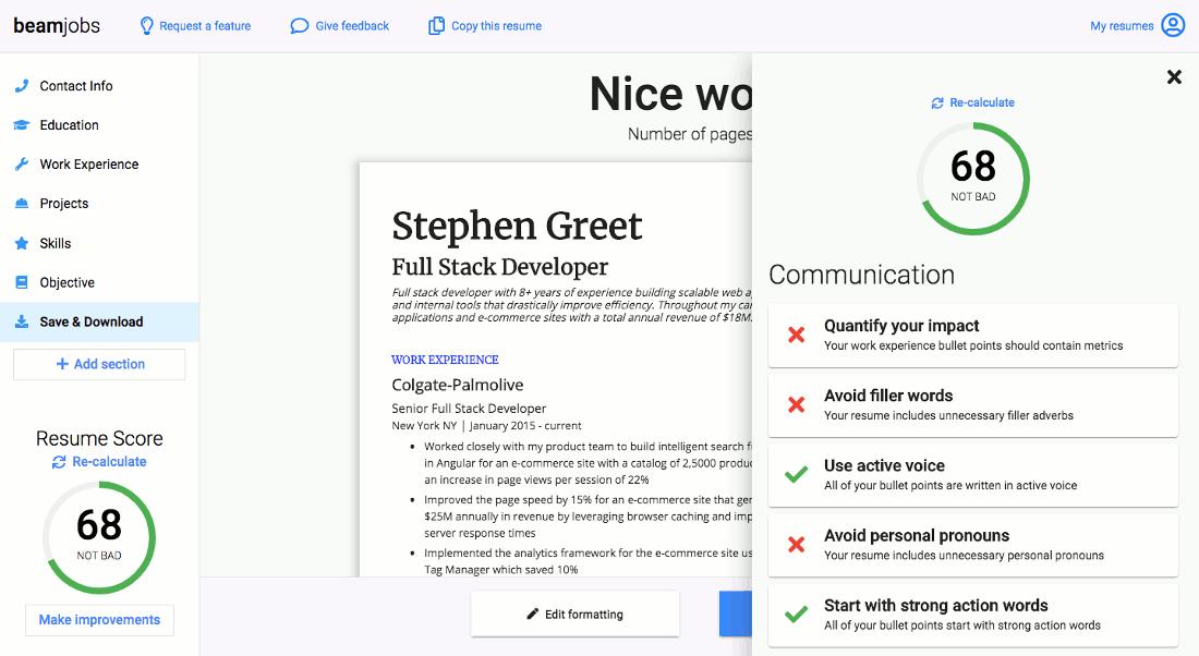 Resume grader in action screenshot