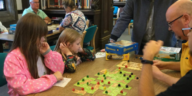 People playing board games at Ipswich County Library