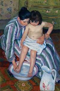 'The Child's Bath (The Bath)'' by Mary Cassatt, 1893, oil on canvas, 39 × 26 in., Art Institute of Chicago