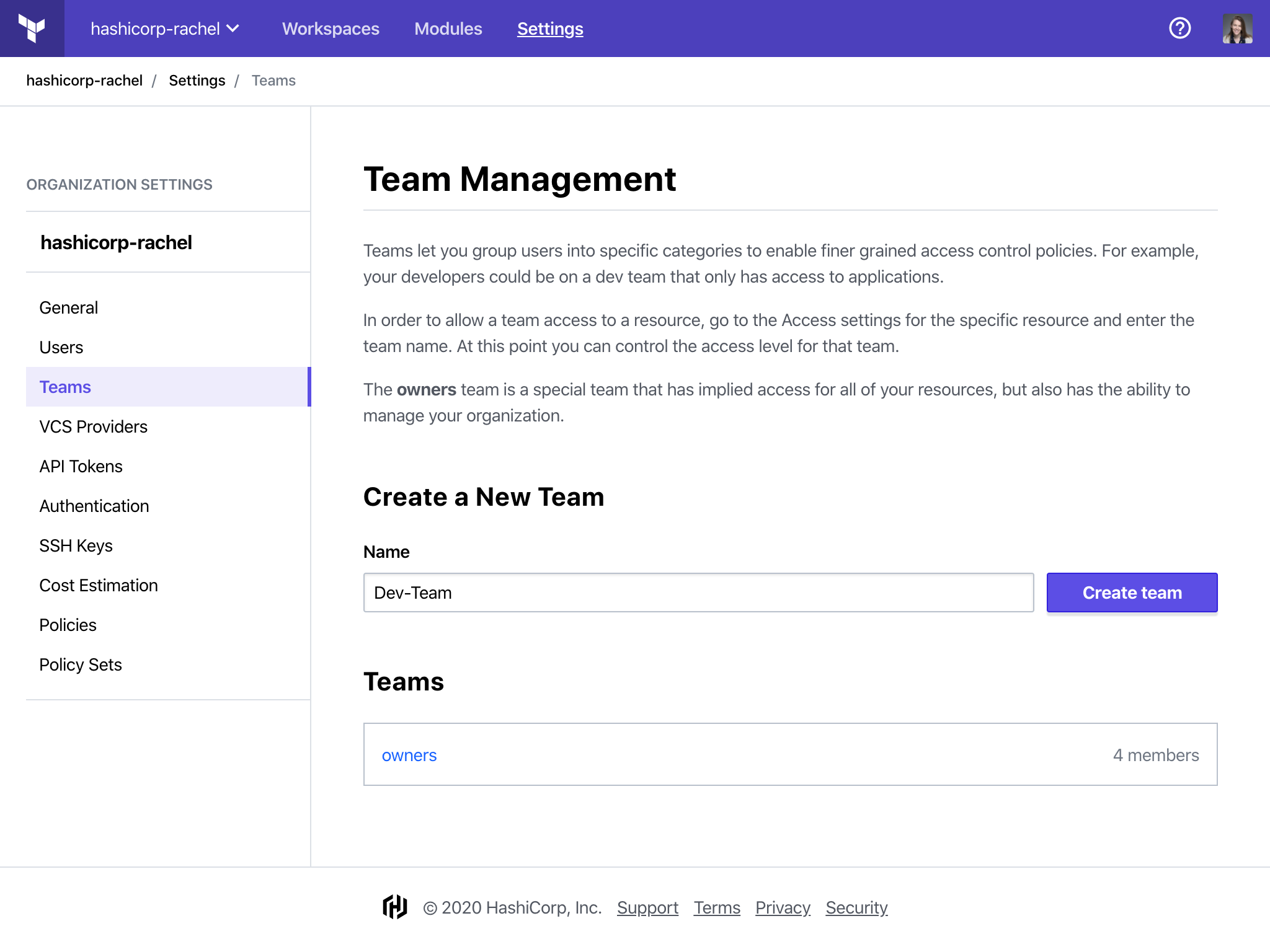 Create a new team