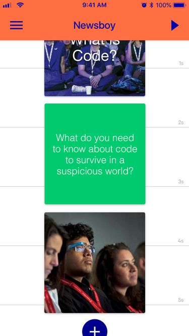 Screenshot of the timeline of the Newsboy app