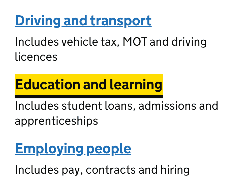 An example of how gov.uk uses focus states