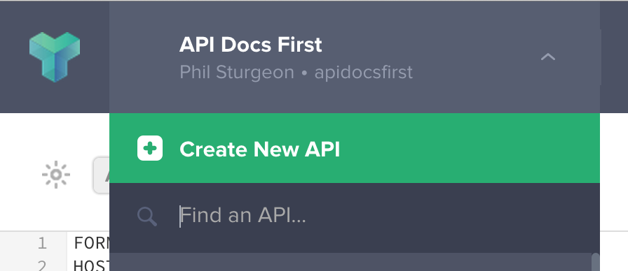 Option to Create a new API on Apiary