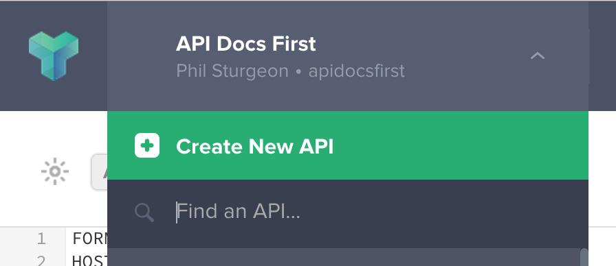 Option to Create a new API on Apiary