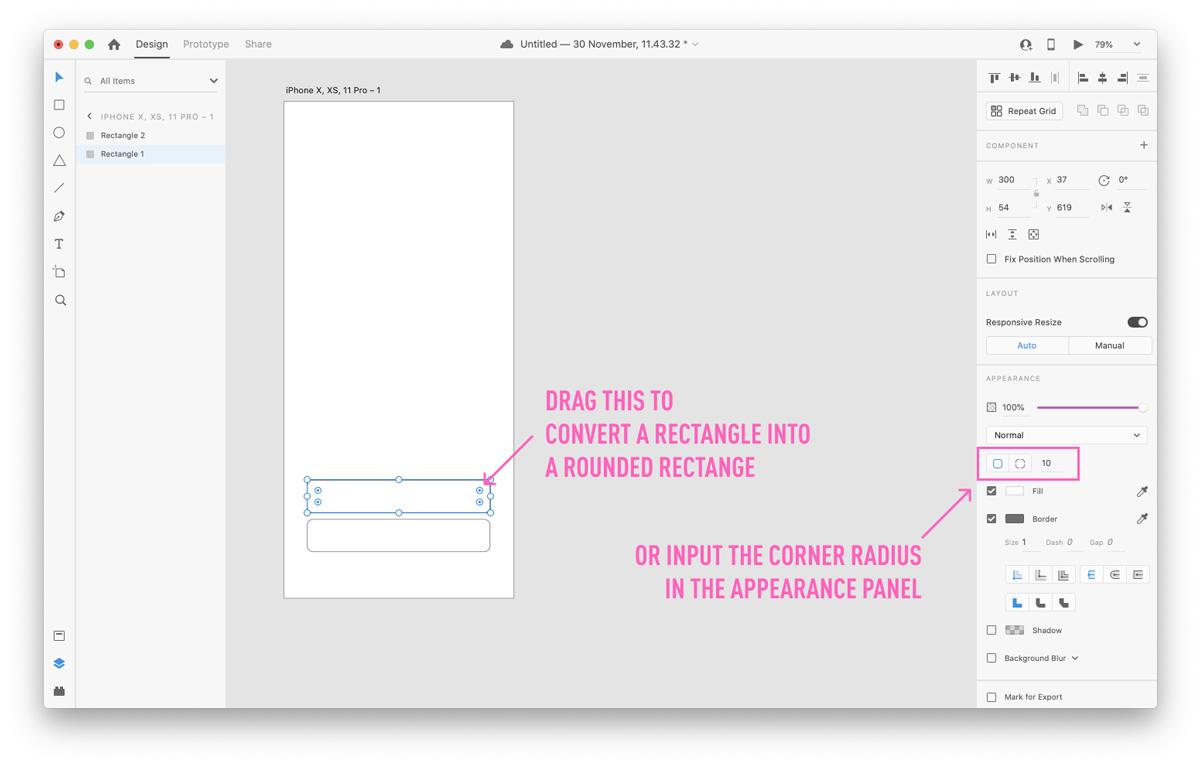 Editing the radius in Adobe XD