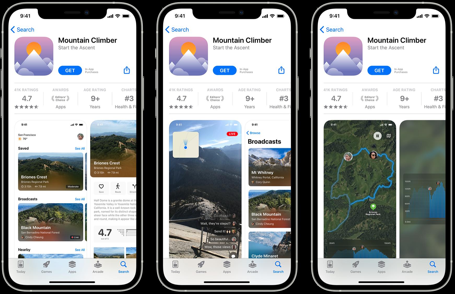 3 Mobile Phones displaying an app
