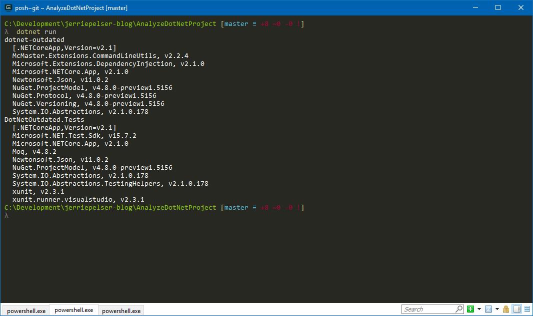 Output when running application