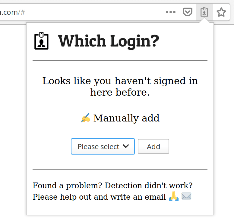Manually adding to Which Login step 2 popup