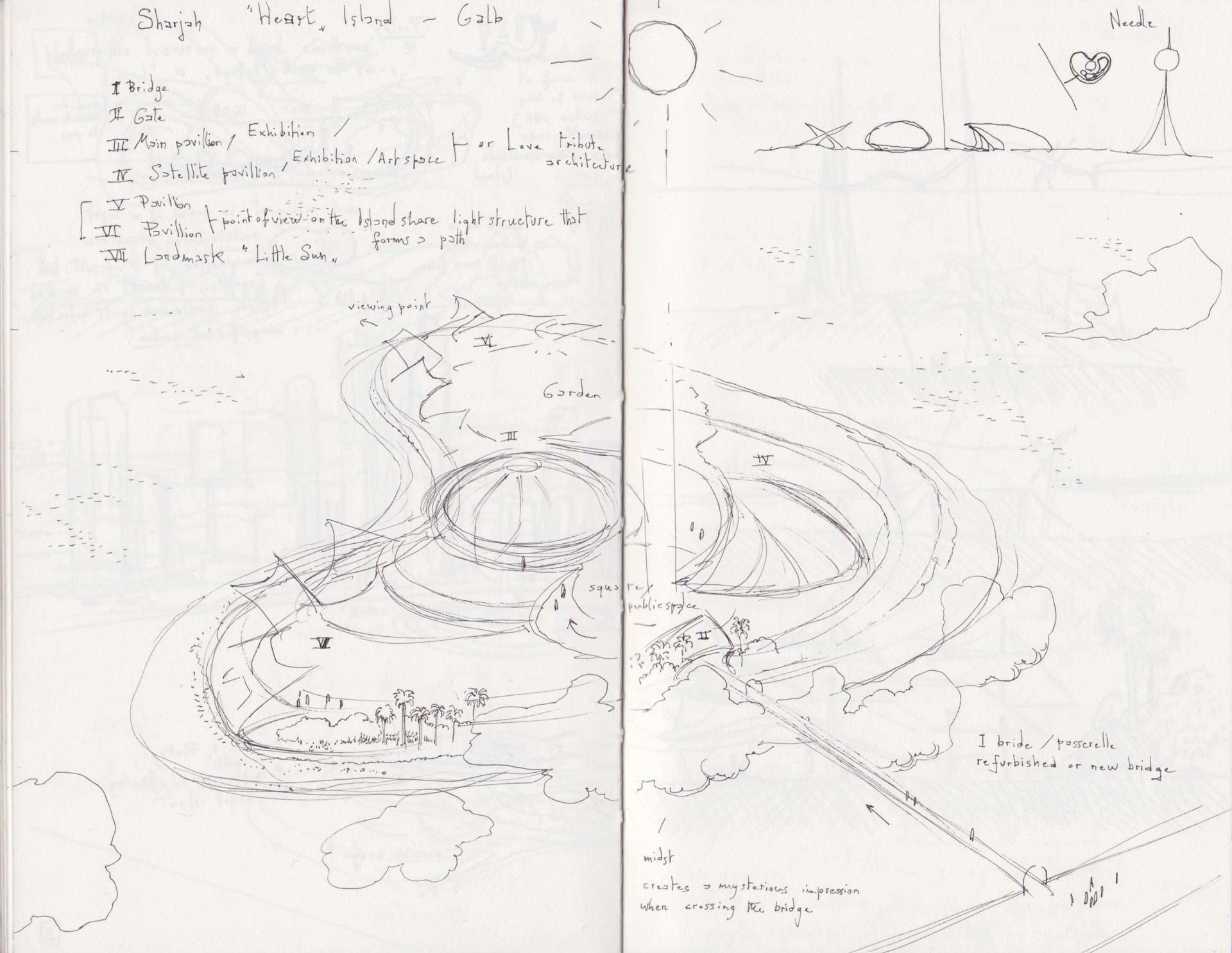 Sharjah Galb island sketch.