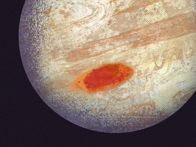 Grimy illustration of the massive planet Jupiter