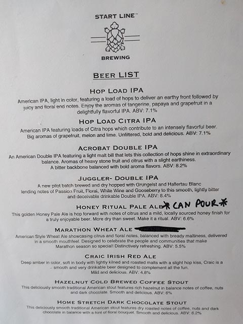 A list of beers brewed by Start Line Brewing in Hopkinton, MA