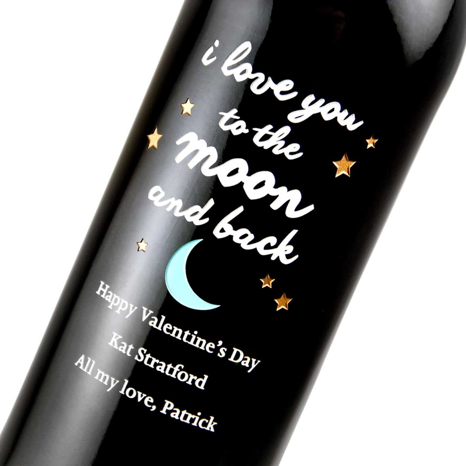 Custom Valentine's Day wine gift by Etching Expressions
