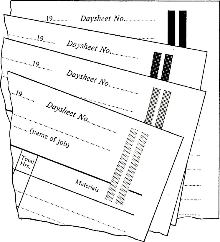 Copies of a form distinguished by bold patches of different colours; the colours of the patch on each copy being the same as the colour of the rest of the printing on that copy