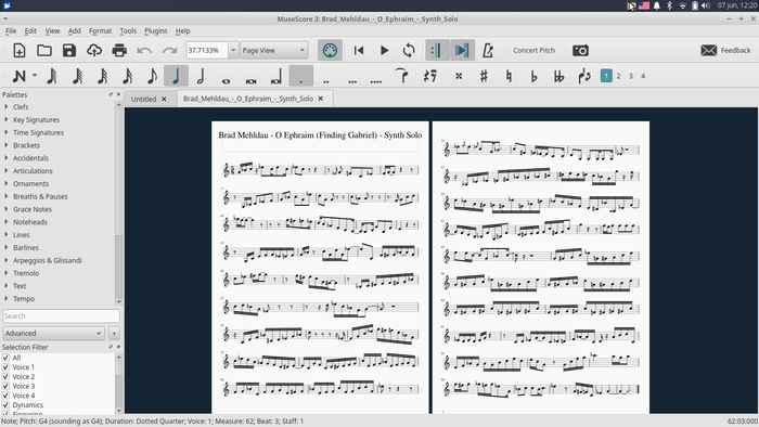 MuseScore transcription screenshot