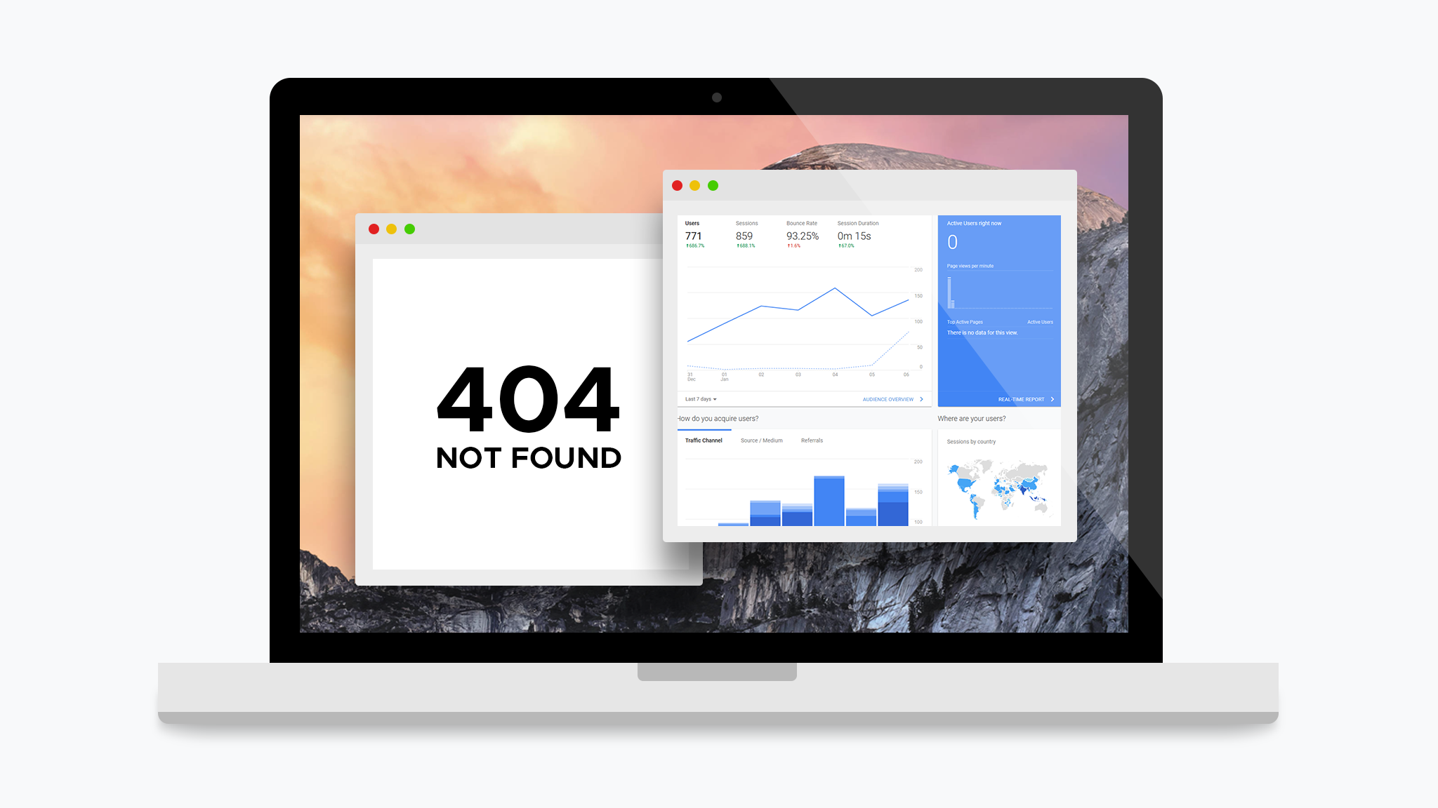 Illustration of laptop with 404 page and Google Analytics