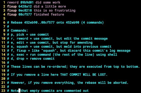 git rebase interactive mode