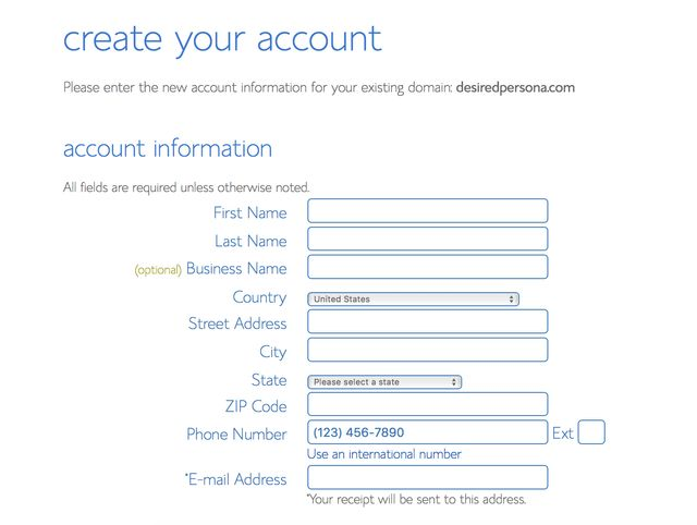 Create a Bluehost web hosting account