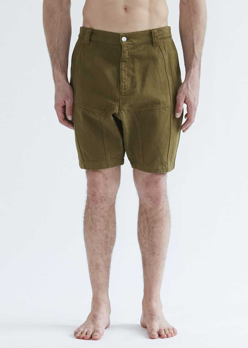 Dirk panelled shorts in khaki for men and women. GmbH SS20 collection.