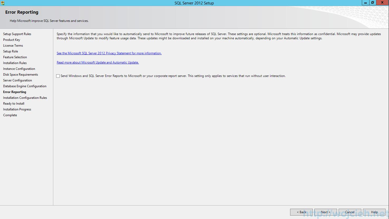 SQL Server 2012 SP1 - Error Reporting
