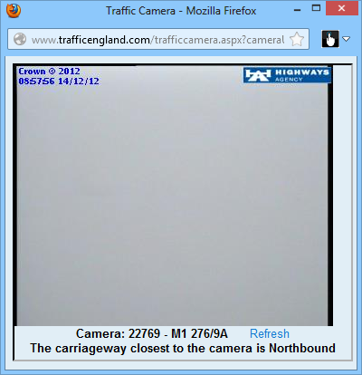 M1 north traffic cam image - just fog