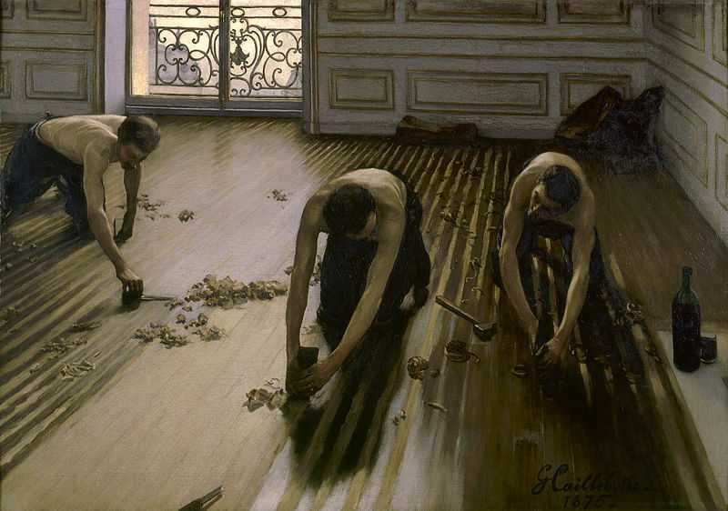 'Les raboteurs de parquet (The floor planers)', a controversial realist subject by Gustave Caillebotte (1848–1894) in 1875, oil on canvas