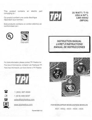 TPI Plastics Christmas Ball Red #4501, Christmas Ball Blue #4502, Christmas Ball Gold #4503, Christmas Ball Silver #4504, Christmas Ball Green #4505 Instruction Manual.pdf preview