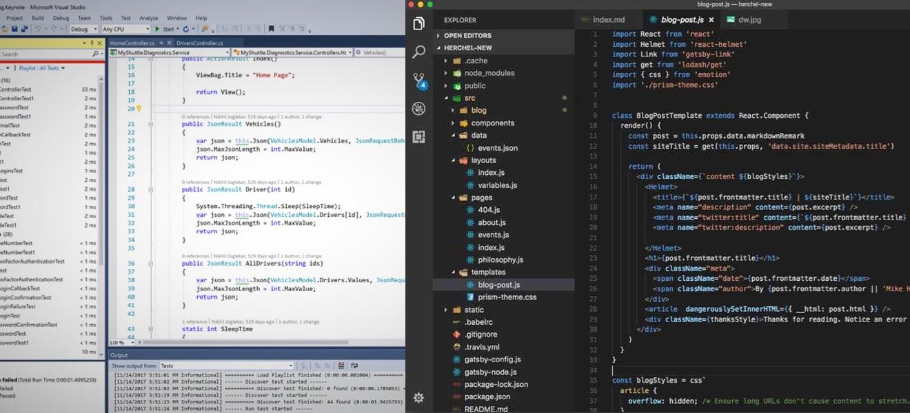 Old VS Studio vs new VS Code.