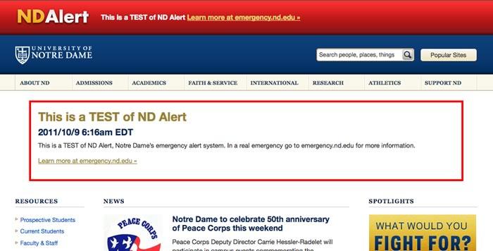ND.edu in Emergency mode