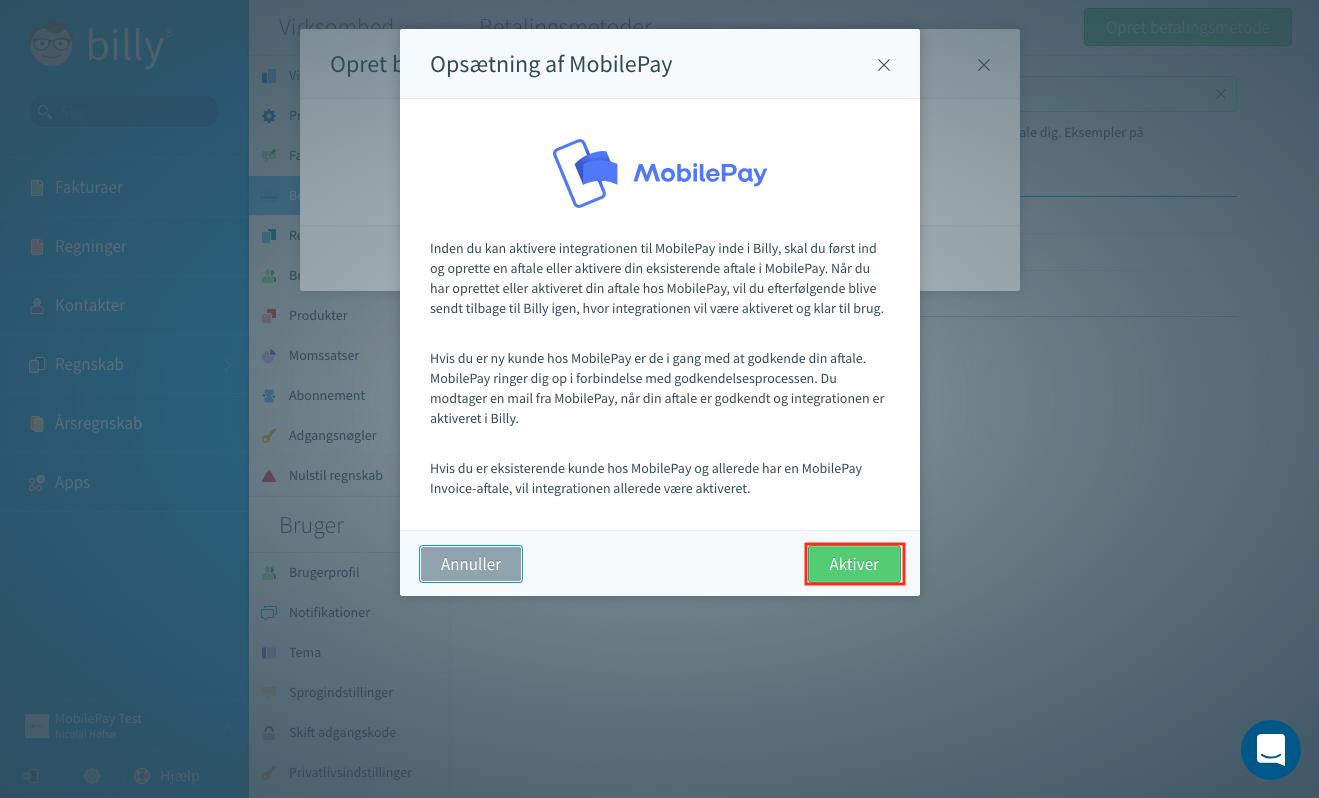Billy Regnskabsprogram og MobilePay - aktiver MobilePay som betalingsmetode