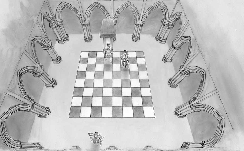 Atoleiros Battle animatic - Virtual chessboard / Throne room — High angle shot