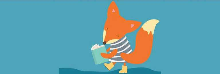 A fox reading a book