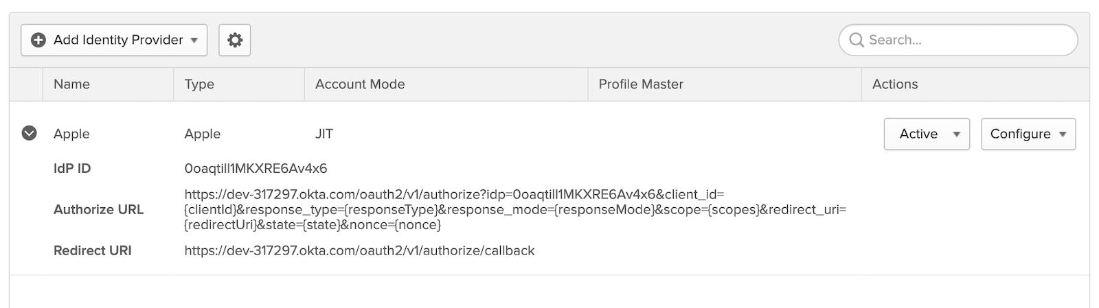 Apple Identity Provider