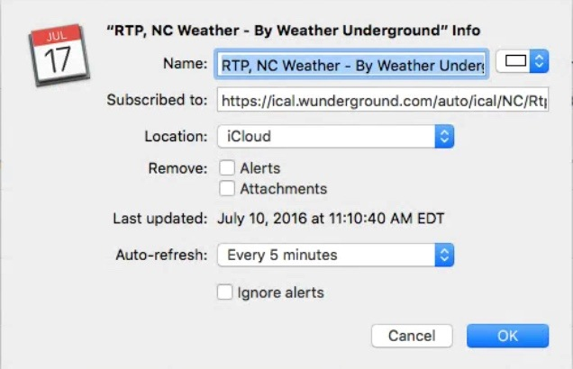macOS Calendar Weather Underground
