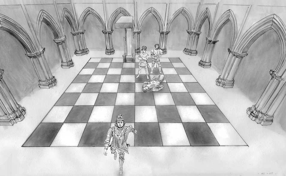 Atoleiros Battle animatic - Virtual chessboard chamber set
