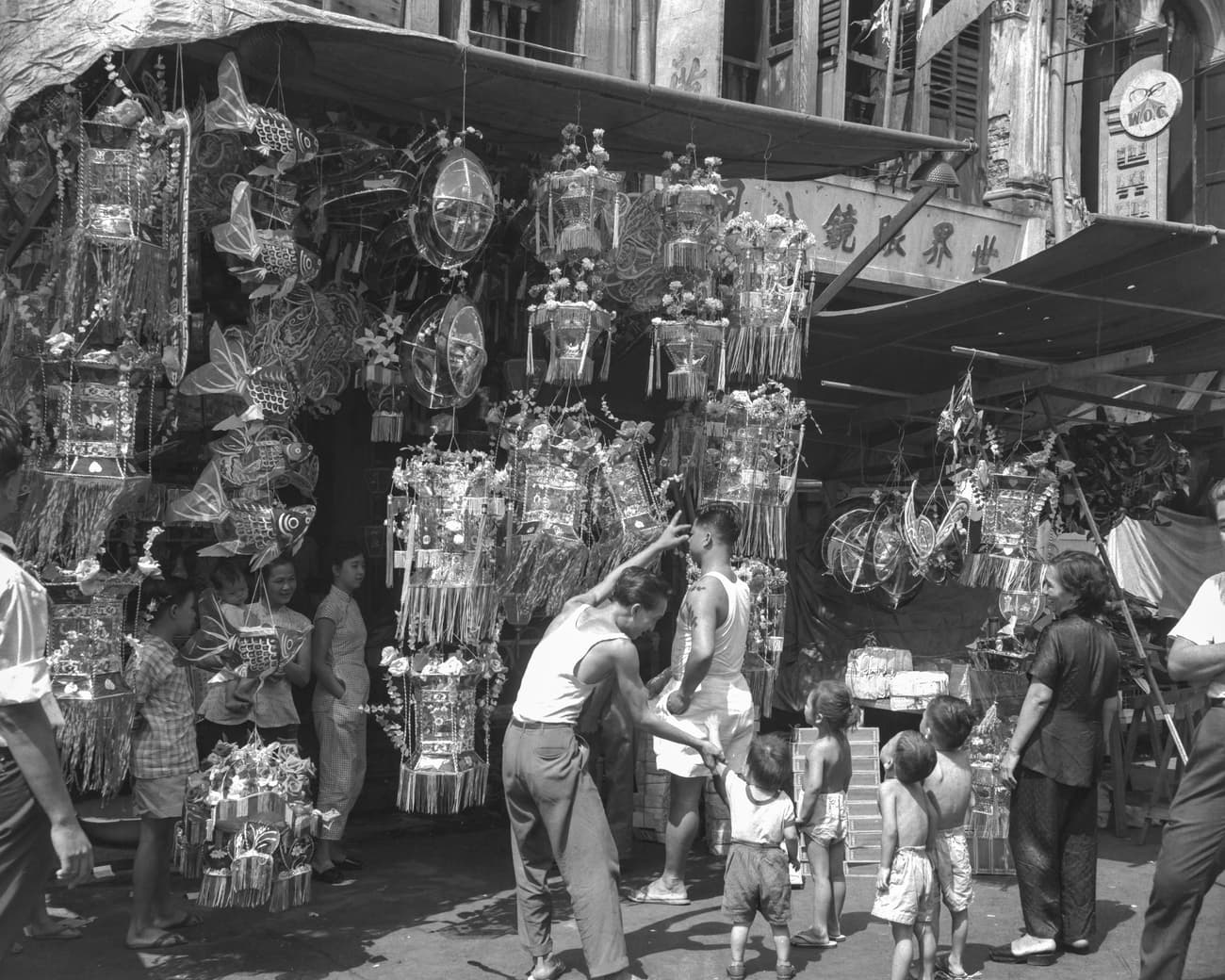 Stall selling lanterns for the Mid-Autumn Festival, 1954