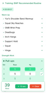 Example screenshot of a workout in progress.